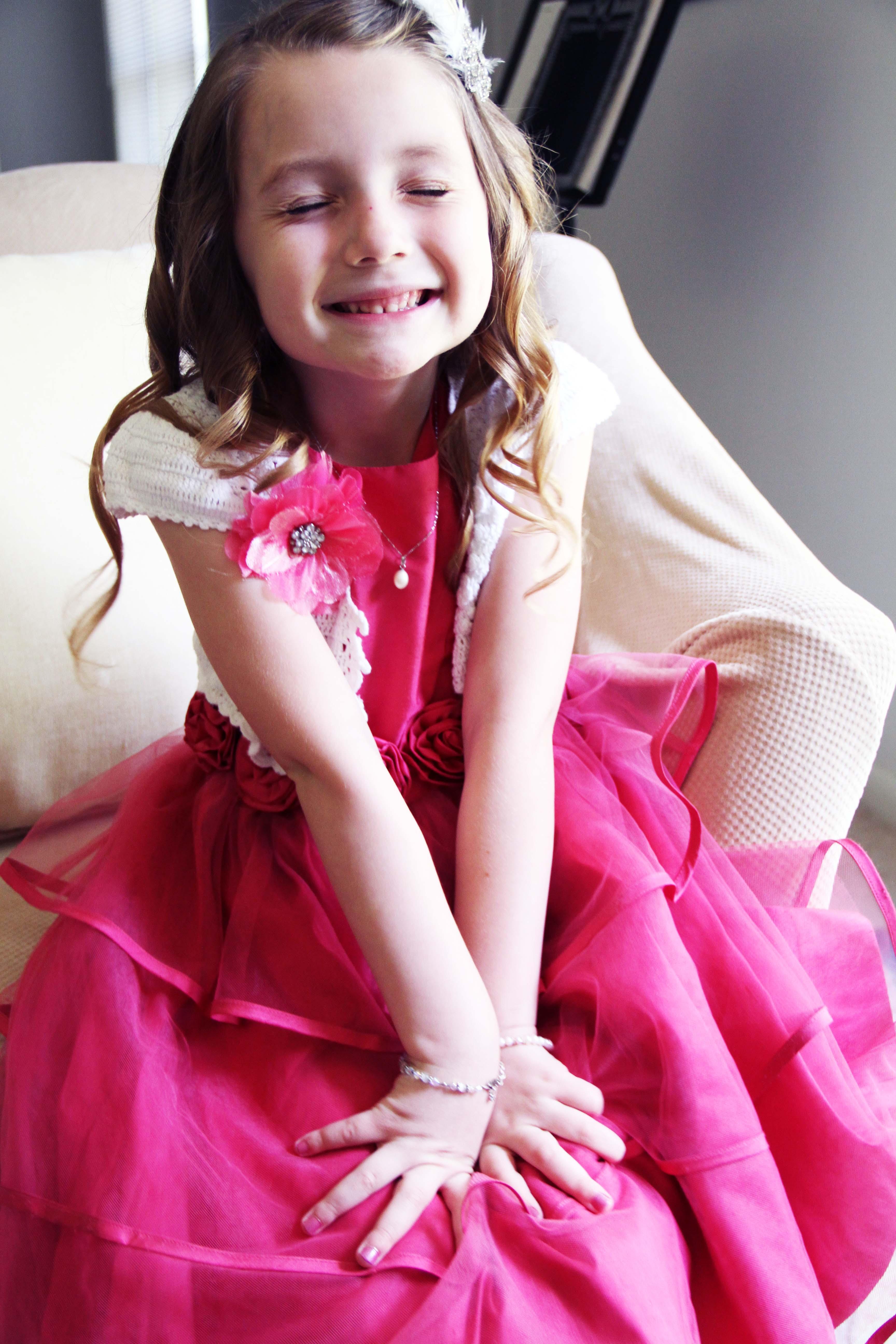 Fluffy in pink dress