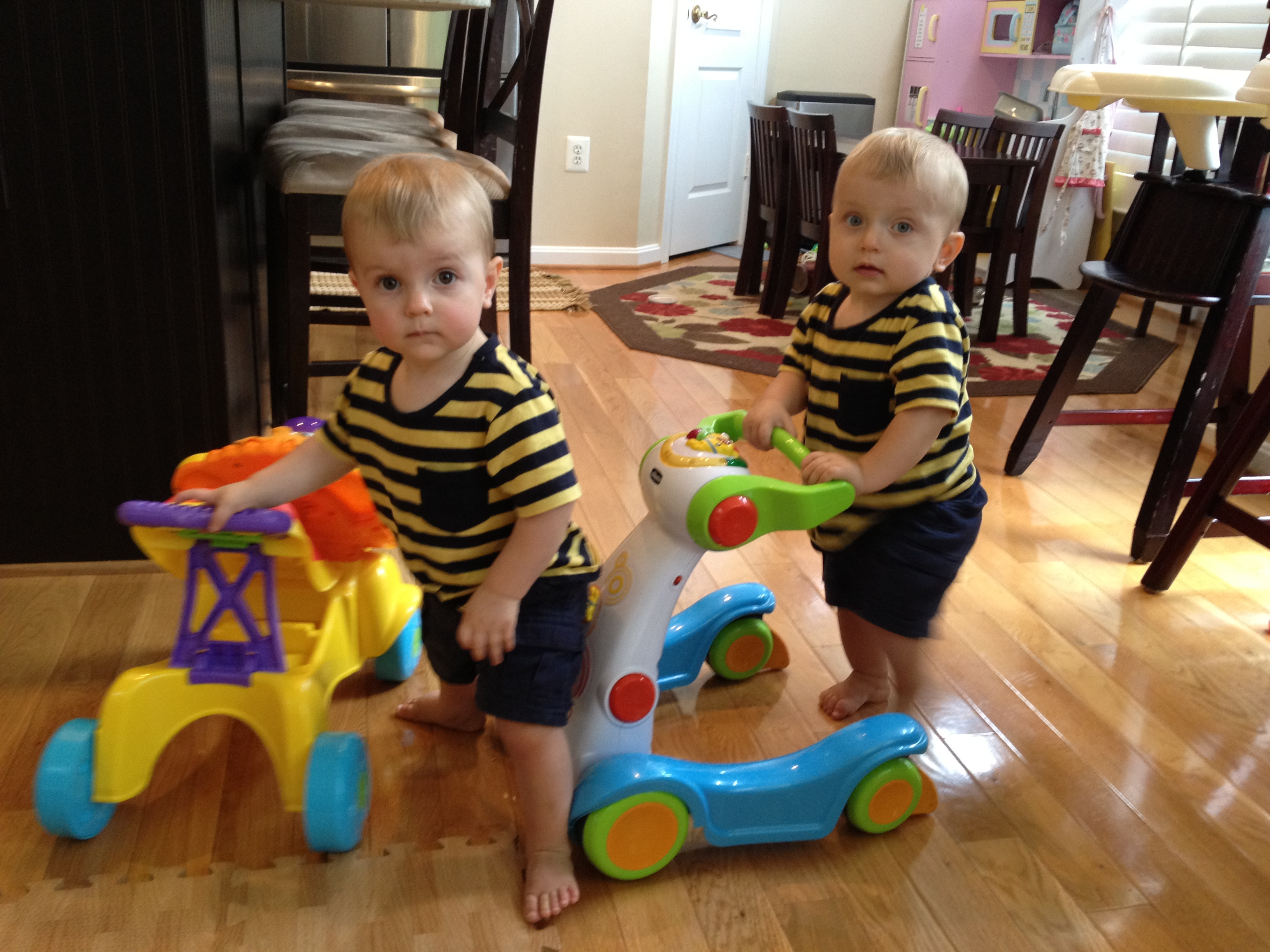 Twins walker toys learning to walk coping post partum screaming