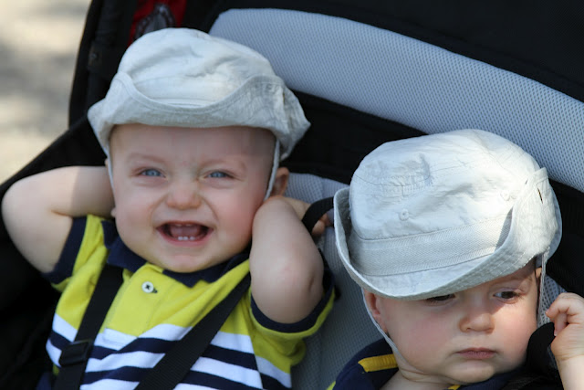 twin stroller twins matching hats outfits mclean day things I wish i'd known mother