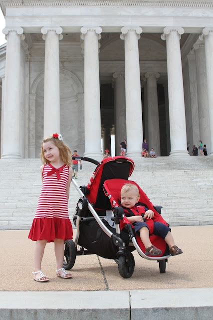 jefferson memorial stroller twins matching red stripe outfits