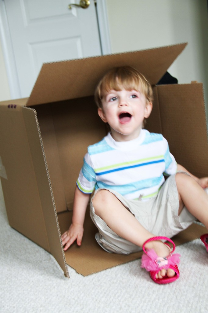 Twins playing in packing boxes 2