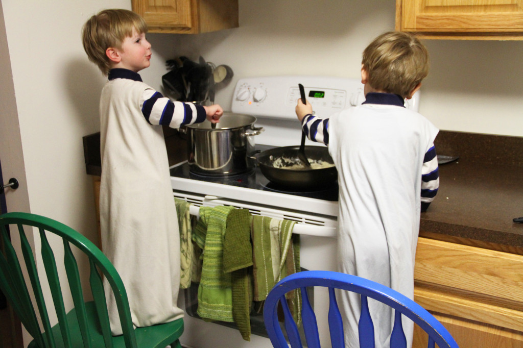 boys making dinner