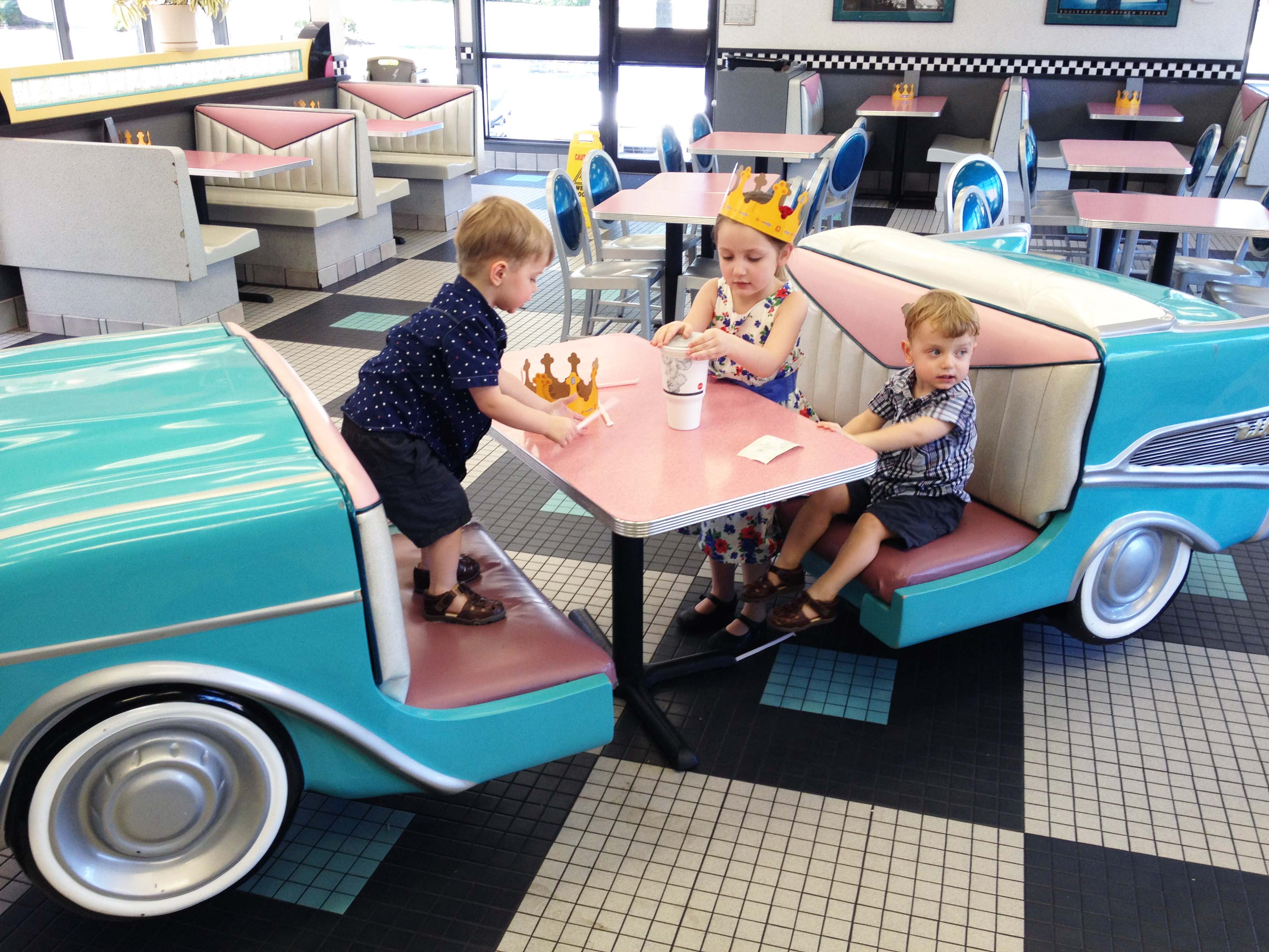 kids in burger king car