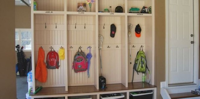 mudroom with second row of hooks