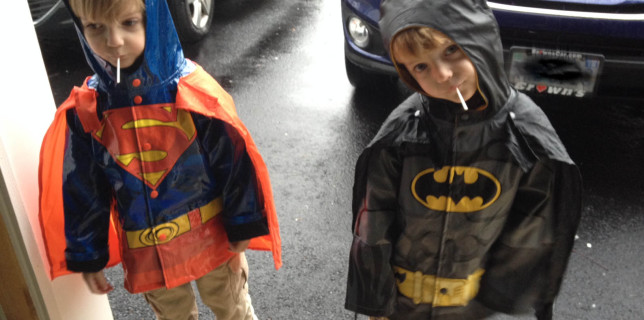 superman and batman raincoats